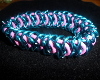 Pink and Green Chainmaille Bracelet