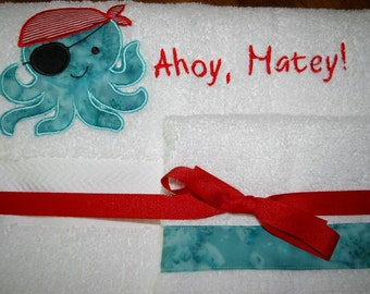Custom Embroidered, Personalized Towel Set with Octopus Pirate