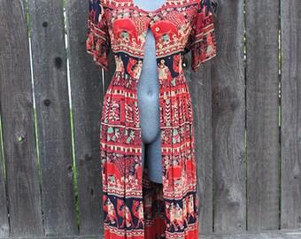 Vintage 90s Dress, Button Up Dress, Duster Long Cardigan, Orange Ethnic Print, Size Medium / Large