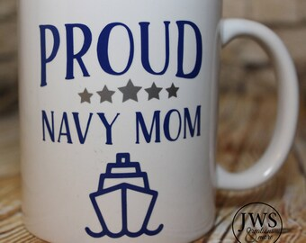 Proud Navy Mom coffee cup
