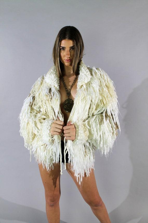 Loop Knit Shag 90s Sweater Jacket Os Vi Nta Ge Playa Festival Burning Man  Sweater Jacket by Etsy