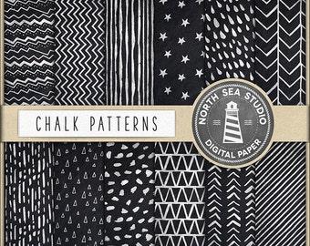 BUY 5 GET 3 FREE | Chalkboard Digital Paper Pack | Hand Drawn Patterns | Chalkboard Texture | Chalk Patterns | Instant Download