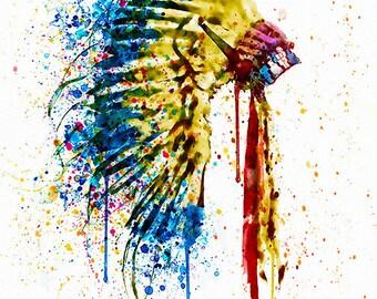 Native American Feather headdress Watercolor painting Wall art Splash Printable art Headdress decor For the room Contemporary art Aquarelle