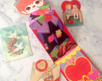 vintage valentines day card lot 40s 50s 70s clown fishing hot air balloon