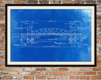 Blueprint Art of Chicago Bridge Technical Drawings Engineering Drawings Patent Blue Print Art Item 0041