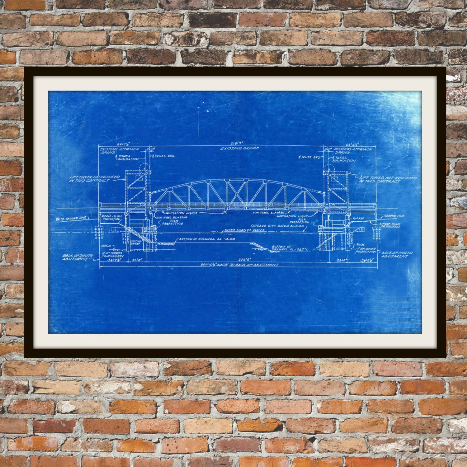 Blueprint art of chicago bridge technical drawings engineering zoom malvernweather Image collections