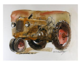 Water Colour print of Farm Tractor 0007
