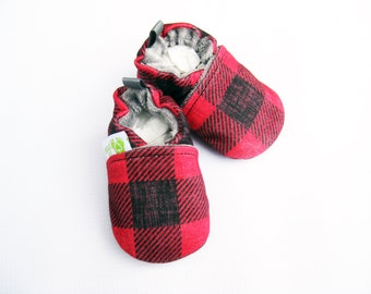Organic Vegan Knits Distressed Buffalo Check Plaid / All Fabric Soft Sole Baby Shoes / Made to Order / Babies Booties Shower Gift