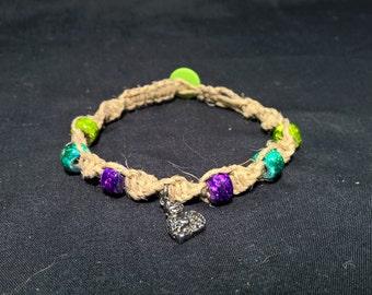 Purple Teal and Lime Green Buddha Natural Hemp Bracelet
