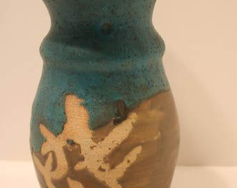 Drip Glaze Pottery Vase Asian Letters Ceramic Clay Pottery Signed 91