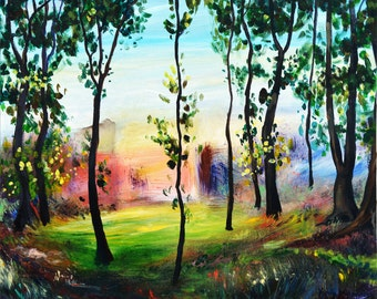 Abstract Landscape, Summer Landscape Painting, Fine Art, Trees Painting, Original Acrylic Painting by Kokoszynska