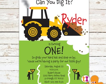 Construction, Truck, Front Loader, Birthday Party, Invitation for kids