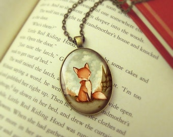 Fox Necklace, Red Fox Jewelry Pendant, Fox Jewellery, Red Fox Pendant, Animal Jewelry, Woodland Necklace Pendant - Little Fox In The Woods
