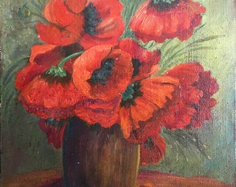 Bouquet of Red Poppies Original Vintage Oil Painting