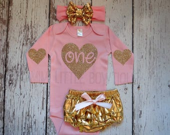 1st Birthday girl outfit pink and gold-  long sleeve shirt with gold- first birthday- Baby Girl Clothing - Pink and gold birthday