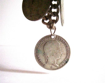 vintage sterling silver coin charm bracelet with hungarian silver coins from 1840s bangle souvenir bracelet charm jewelry