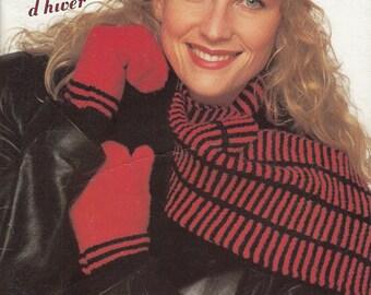 Accessoires d'hiver- Livret de tricot vintage 1990