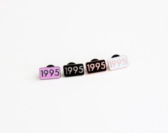 1995 Pink Silver or White Rose Gold Year Pin Small Soft Enamel // ready to ship, .75 inch, anniversary, birthday gift, lapel pin