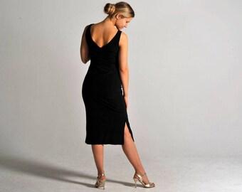 VICTORIA long black slit dress, XS-M