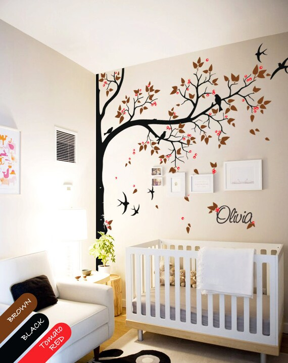 large tree wall decal with personalized name or quote corner