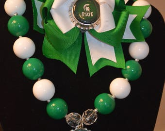 Michigan State Bubble Gum Necklace and Over the Top Hair Bow