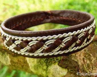 Custom Handmade Scandinavian Viking Bracelet Cuff in Brown Leather decorated with Pewter Braid - Sami Jewelry for Guys and Girls