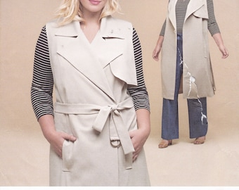 FREE US SHIP Simplicity 8303 Duster Coat Vest Jacket Dress Top Pants * Design Your Own Size 18 20 22 24 Plus Size Bust 40 42 44 46 Uncut