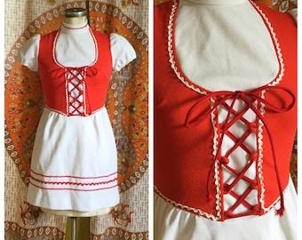 SALE! 70s Vintage Red White Mini Folk Dress Small XS
