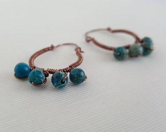 Dyed Jasper Hoop Earrings