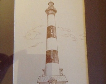 Set of Four Lighthouse Prints by Weiss in Rustic Wooden Frames