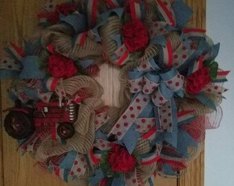 Red Tractor Deco Mesh Wreath - Ready To Ship