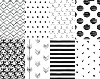 """Hand Drawn Printable Digital Paper. 12X12"""" Monochrome Patterns + PNG Overlays. Personal and Commercial Use. Instant download."""