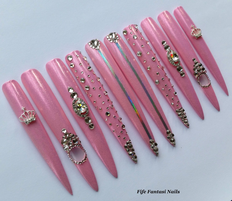 Extra Long Stiletto Nails Swarovski Nails Pink nails