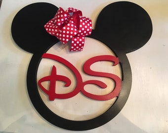 2 initial monogram Disney wreath