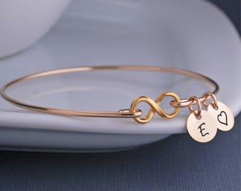 Gold Infinity Bracelet, Custom Infinity Symbol Jewelry, Infinity Bracelet, Gold Infinity Bangle, Christmas Gift for Wife, Push Present