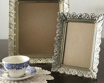 Gold Ornate Filigree Picture Frames Set of Two 8x10 5x7