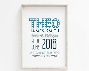 Personalised Baby Print A3 A4 - Nursery Print - New baby gift - Baby boy
