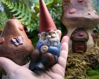 Garden Gnome Sleeping, Miniature Concrete Gnome Statue, Fairy Garden Outdoor Decor