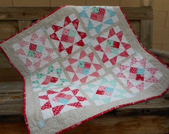 Baby Quilt--Red/Pink/Aqua and Gray