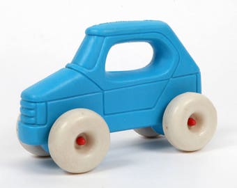Vintage Baby toy-blue car with handle