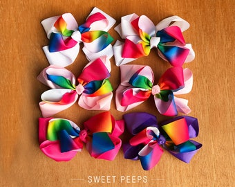 2 Rainbow Large Bow Hair Clips, School Girl Hair Clips, Toddler Hair Accessories, Ribbon Bows, Ribbon Hair Clips, School Accessories