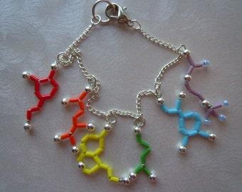 Biolojewelry - Mini Rainbow Neurotransmitter Molecule Charm Bracelet