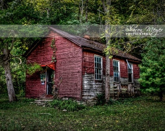 FIne Art Photograph, 8x10 Photographic print, Locust Grove School House, Wall Decor, Old School House, Indiana