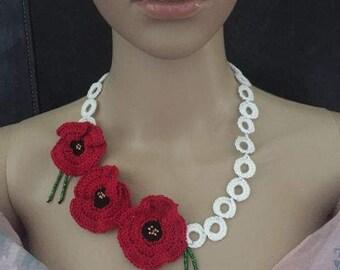 Poppy flower crocheted necklace