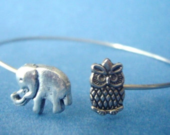 Elephant bracelet wrap style with an owl, owl wrap
