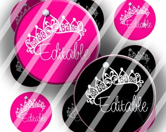 "Editable Bottle Cap Collage Sheet - Tiaras  (170) - 1"" Digital Bottle Cap Images"