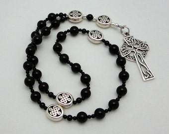 Black Onyx Anglican Rosary / Protestant Prayer Beads with Sterling Silver Celtic Cross