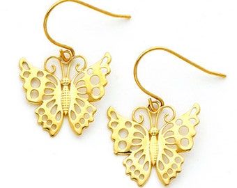14Kt Yellow Polished Gold Butterfly Earrings on Fish Hooks