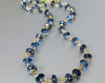 18k Solid Gold London Blue Topaz Necklace, London Blue Topaz Necklace, 18k Gold London Blue Topaz Necklace