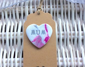 Natural Gift Tag with clay Mum heart attached (1)